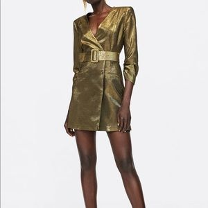 Zara Gold Thread Metallic Dress Size Small
